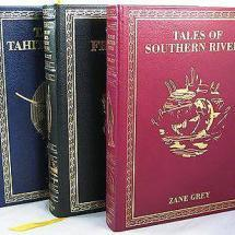 The books are beautifully bound in leather with gilt lettering and decoration.